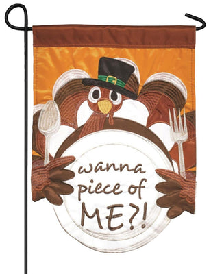 Wanna Piece of Turkey? Double Applique Garden Flag
