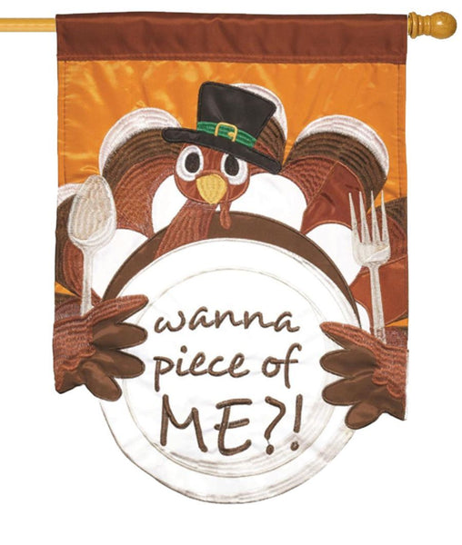 Wanna Piece of Turkey? Double Applique House Flag