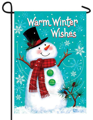 Warm Winter Wishes Snowman Garden Flag