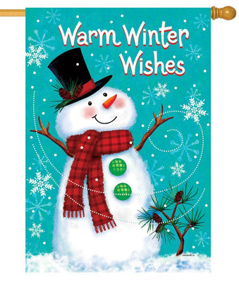 Warm Winter Wishes Snowman House Flag