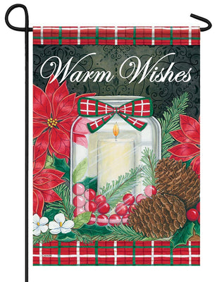 Warm Wishes Christmas Candle Glitter Garden Flag
