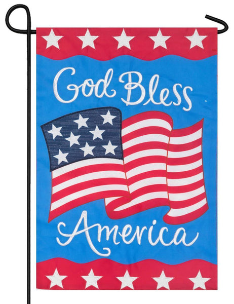 Waving God Bless America Double Applique Garden Flag - I AmEricas Flags