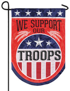 We Support Our Troops Double Applique Garden Flag