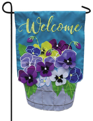 Welcome Basket of Pansies Applique Garden Flag