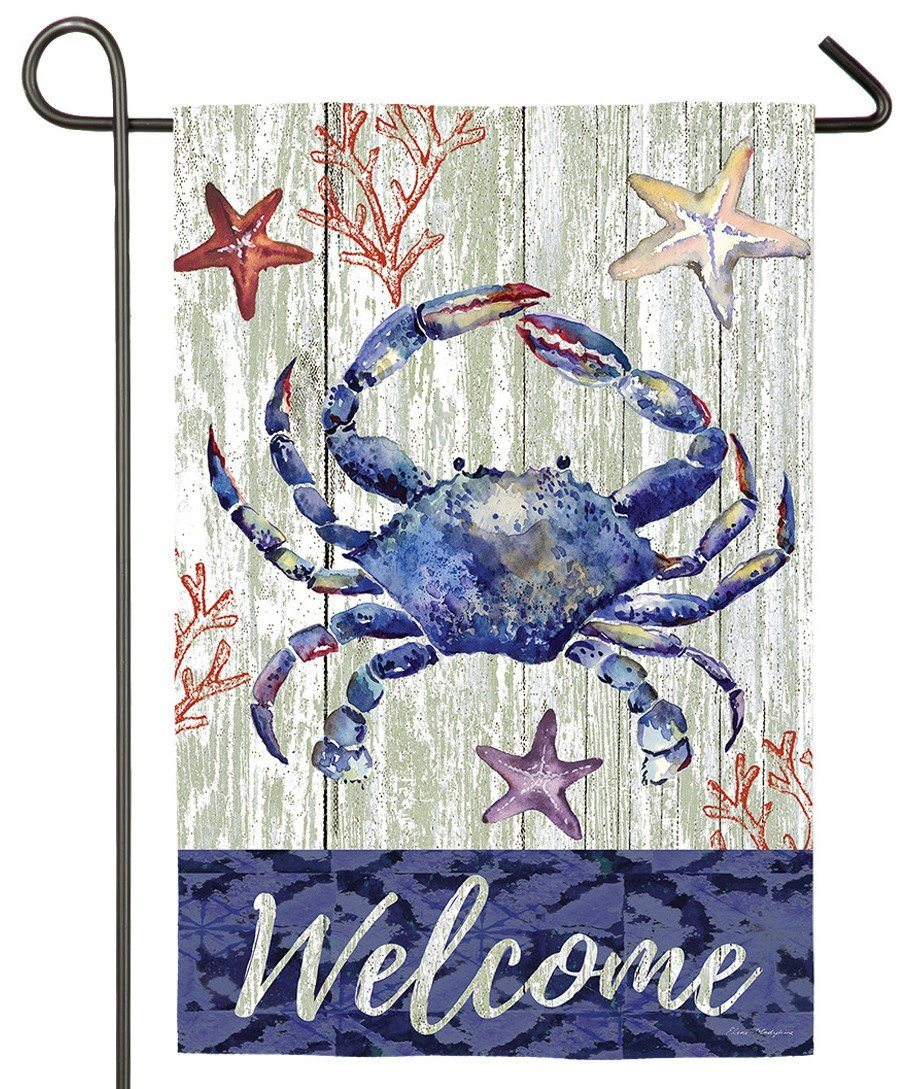 Blue Crab Welcome Suede Reflections Garden Flag
