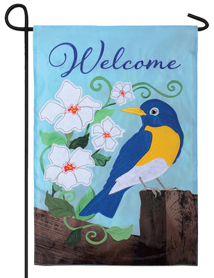 Welcome Bluebird Fence Double Applique Garden Flag