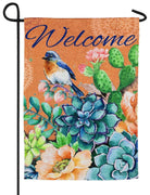 Welcome Bluebird Succulents Suede Reflections Garden Flag