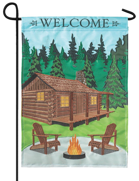Welcome Cabin Double Applique Garden Flag