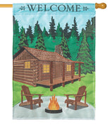 Welcome Cabin Double Applique House Flag