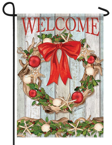 Welcome Coastal Christmas Driftwood Wreath Garden Flag