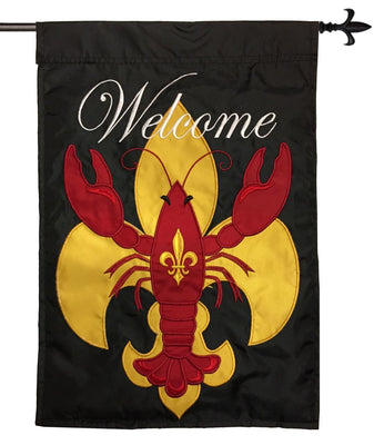 Welcome Crawfish Fleur de Lis Double Applique House Flag