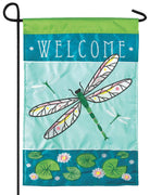 Welcome Dragonfly Double Applique Garden Flag