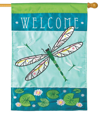 Welcome Dragonfly Double Applique House Flag