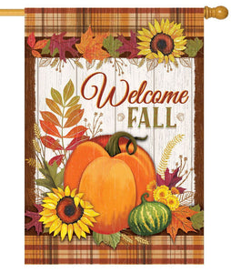 Welcome Fall Pumpkins and Plaid House Flag