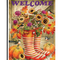 Welcome Fall Rain Boots Garden Flag