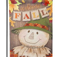 Welcome Fall Scarecrow Suede Reflections Garden Flag