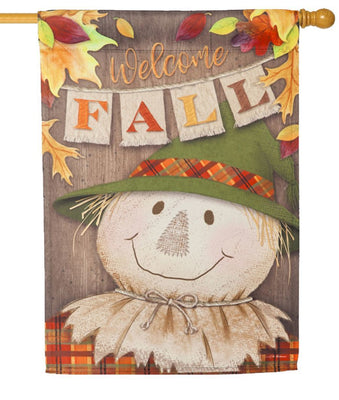 Welcome Fall Scarecrow Suede Reflections House Flag
