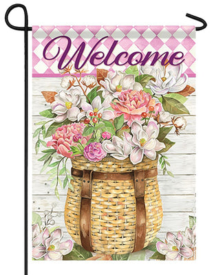 Welcome Floral Adirondack Basket Garden Flag
