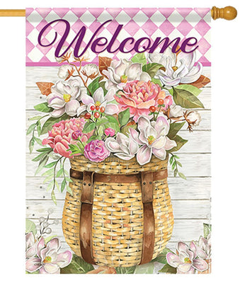 Welcome Floral Adirondack Basket House Flag