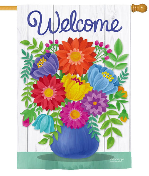 Welcome Flower Bouquet Suede Reflections House Flag - I AmEricas Flags