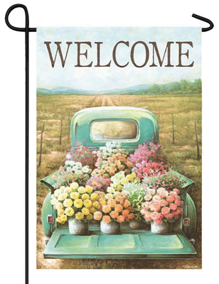 Welcome Flower Truck Garden Flag