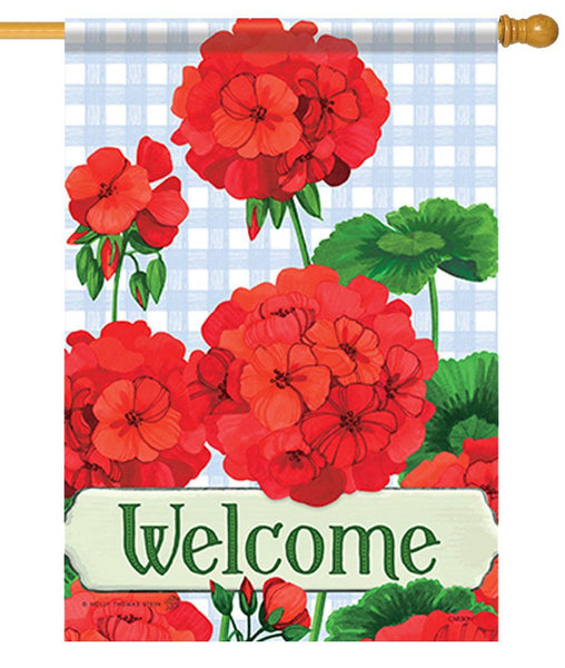 Welcome Geraniums House Flag