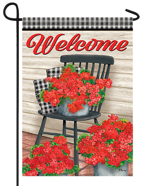 Welcome Geraniums and Gingham Garden Flag