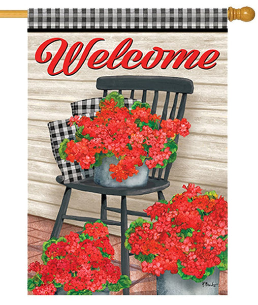 Welcome Geraniums and Gingham House Flag