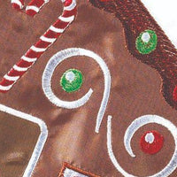 Welcome Gingerbread House Double Applique Garden Flag Detail 2