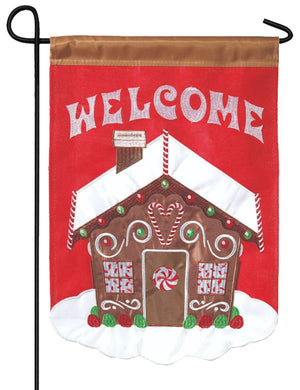 Welcome Gingerbread House Double Applique Garden Flag
