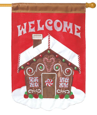 Welcome Gingerbread House Double Applique House Flag