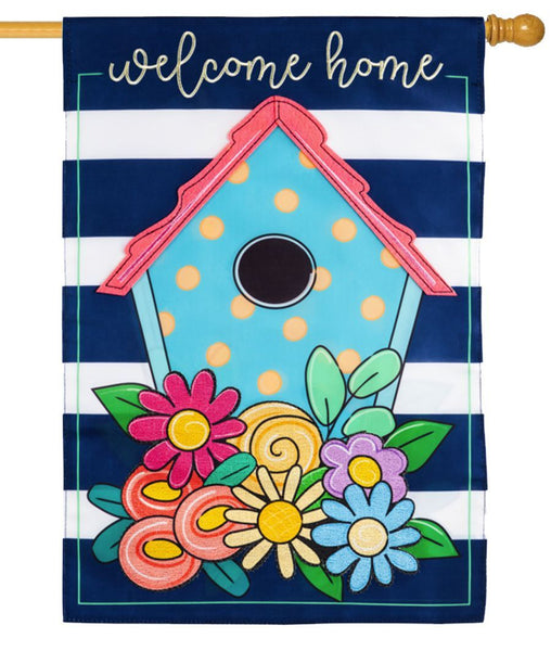 Welcome Home Birdhouse Applique House Flag