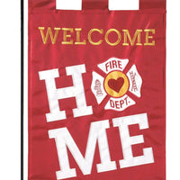 Welcome Home Firefighter Double Applique Garden Flag