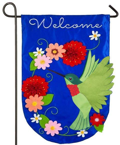 Welcome Hummingbird Applique Garden Flag