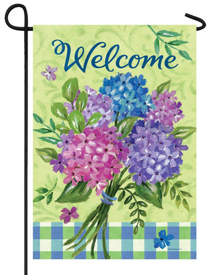 Welcome Hydrangea Bouquet Garden Flag