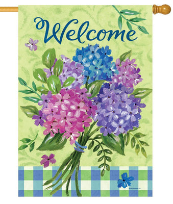 Welcome Hydrangea Bouquet House Flag