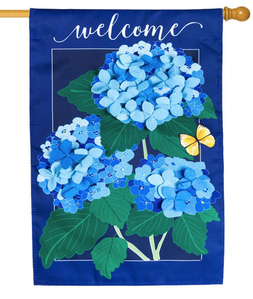 Welcome Hydrangeas Applique House Flag
