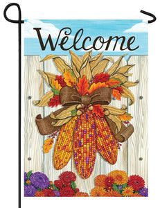 Welcome Indian Corn Garden Flag