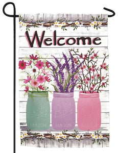 Welcome Jars of Flowers Garden Flag