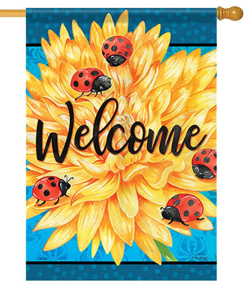 Welcome Ladybug Life House Flag