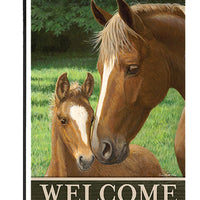 Welcome Mare and Foal Garden Flag