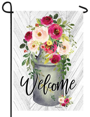 Welcome Milk Can Flowers Garden Flag