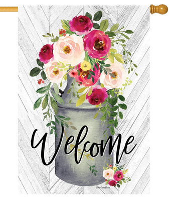 Welcome Milk Can Flowers House Flag
