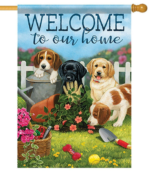Welcome Mischievous Pups House Flag