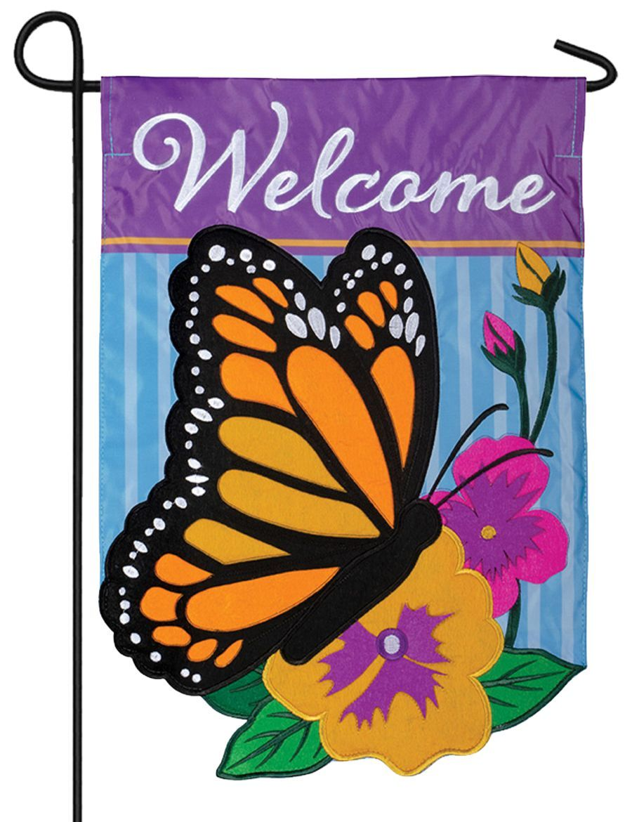 Welcome Monarch Butterfly Double Applique Garden Flag I Americas Flags