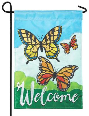 Welcome Monarchs Double Applique Garden Flag
