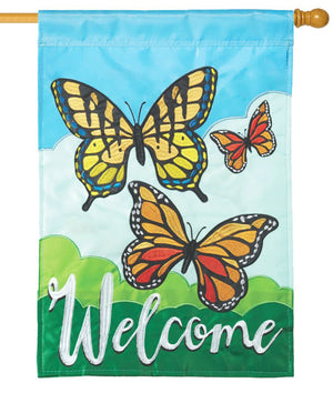 Welcome Monarchs Double Applique House Flag