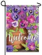 Welcome Pansies Garden Flag