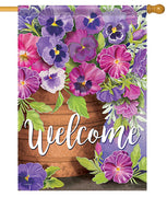 Welcome Pansies House Flag
