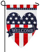 Welcome Patriotic Heart Applique Garden Flag